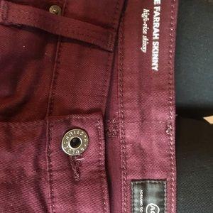 Ag Adriano Goldschmied Jeans - AG The Farrah High Rise Skinny Burgundy 27